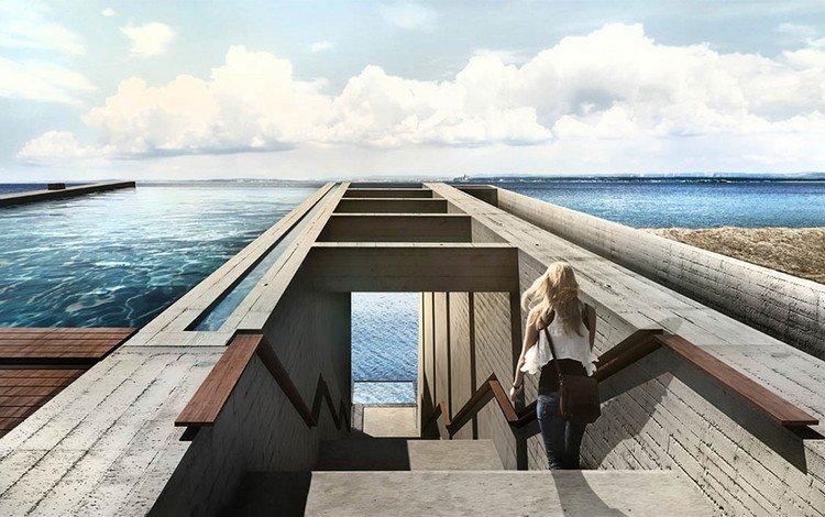 woman steps sea