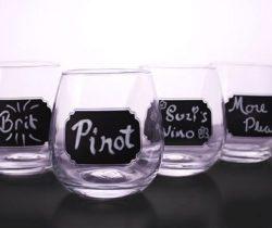 Chalkboard Stemless Wine Glasses