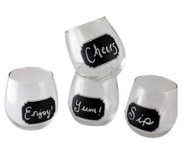 Chalkboard Stemless Wine Glasses drink