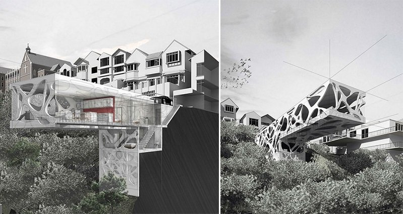 This Conceptual Home Design Shows A Modern House Built Into The ...