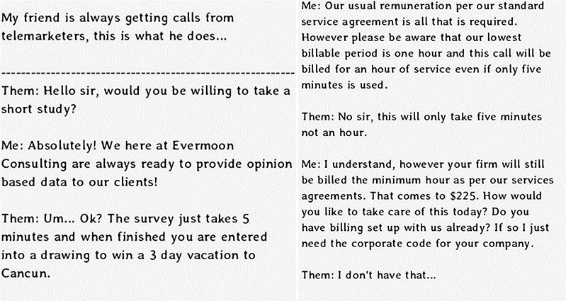 Funny Telemarketers Response