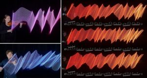 LED-Enhanced Bows Capture Motions Making Music