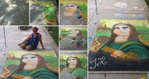 Mona Lisa Miss Piggy In Chalk
