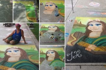 Mona Lisa Miss Piggy In Chalk