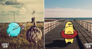 Photographs Invaded By Cartoon Monsters