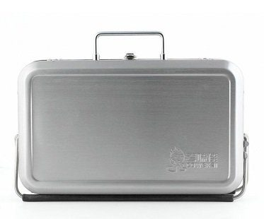 Portable BBQ Suitcase silver closed