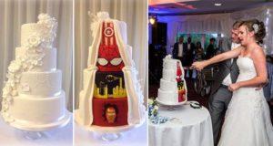 Traditional And Comic Book Wedding Cake