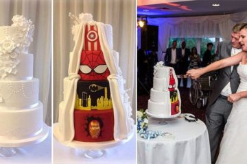 Traditional And Comic Book Wedding Cake
