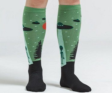 alien socks green