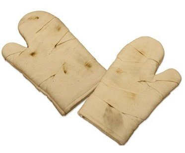 bandaged hands oven gloves kitchen
