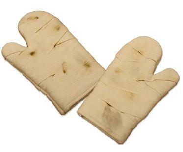 bandaged hands oven gloves kitchen