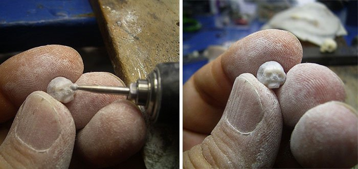 carving skull pearls
