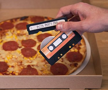 cassette tape pizza cutter