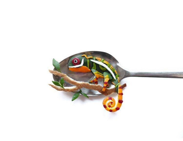 chameleon on spoon