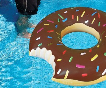 chocolate donut pool float bite