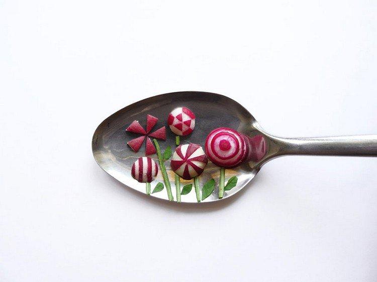 flowers on spoon