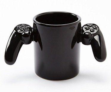 game controller mug black