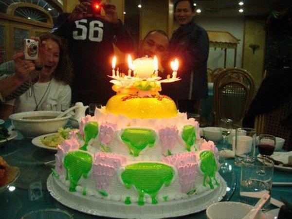 green pink cake