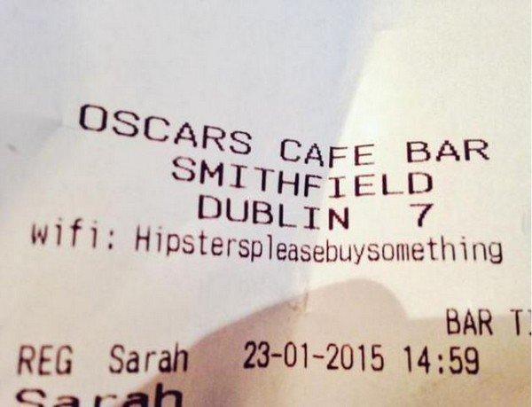 hipster receipt