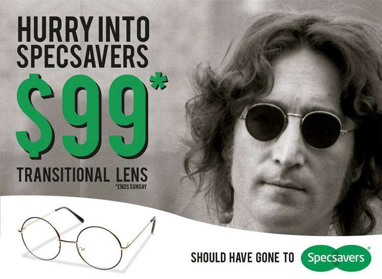 see what happens when designers photoshop stars from the past into  john lennon specsavers