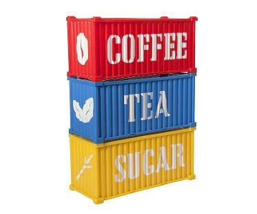 kitchen cargo containers coffee tea sugar