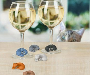kitty wine glass markers