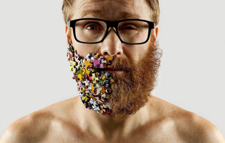 man half beard half jigsaw