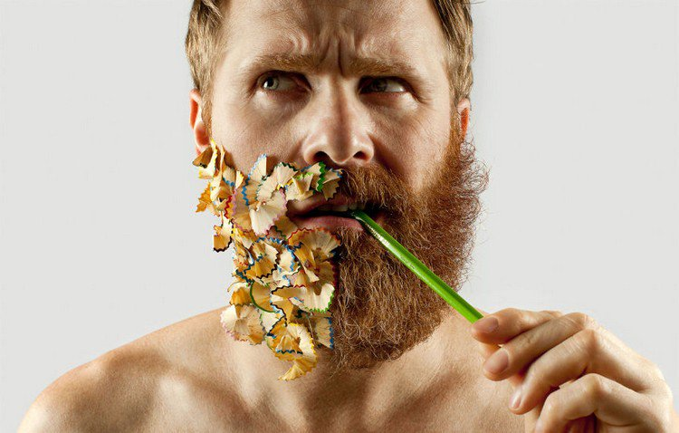 man half beard half pencil shavings