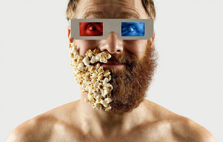 man half beard half popcorn