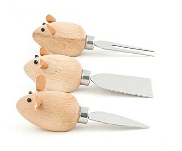 mouse cheese knives wooden