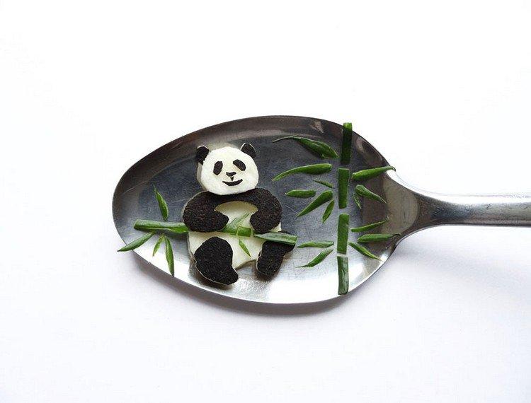 panda on spoon