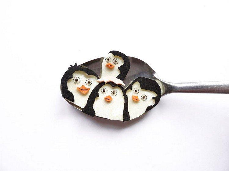penguins on spoon
