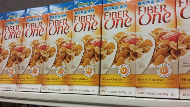 perfectly arranged cereal boxes