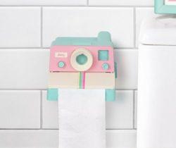 pink polaroid toilet roll holder
