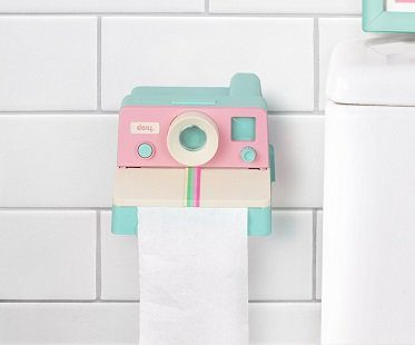 pink polaroid toilet roll holder