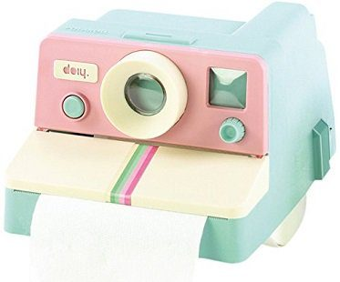 pink polaroid toilet roll holder bathroom
