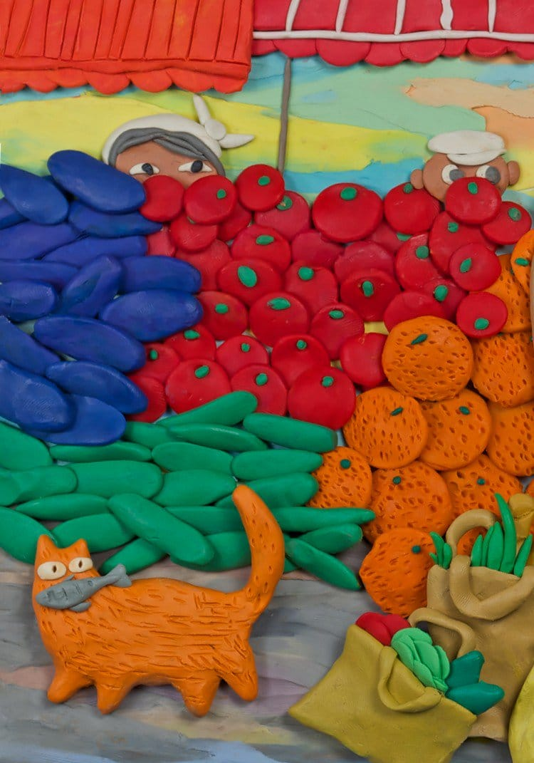 plasticine cat fish veg
