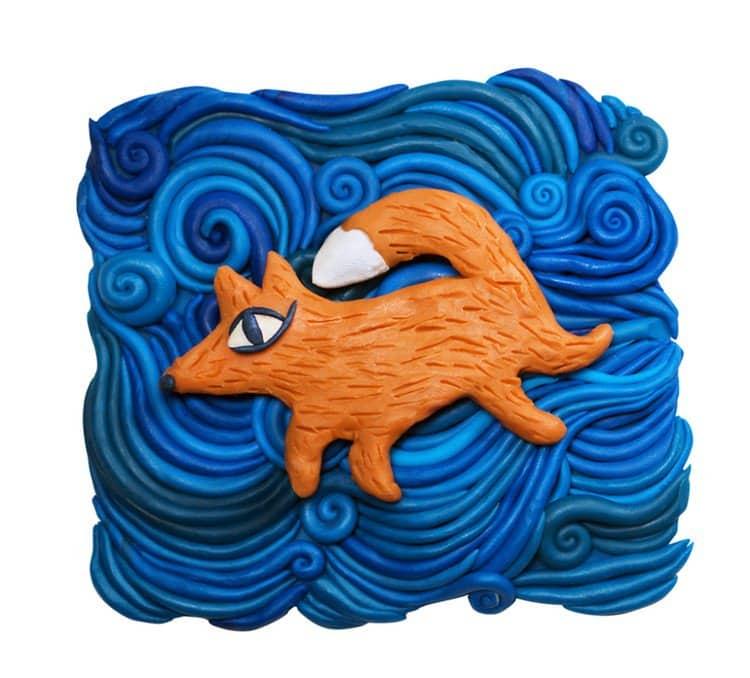 plasticine fox water