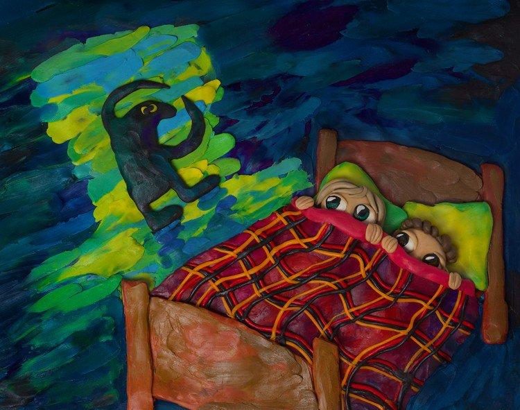 plasticine people bed monster