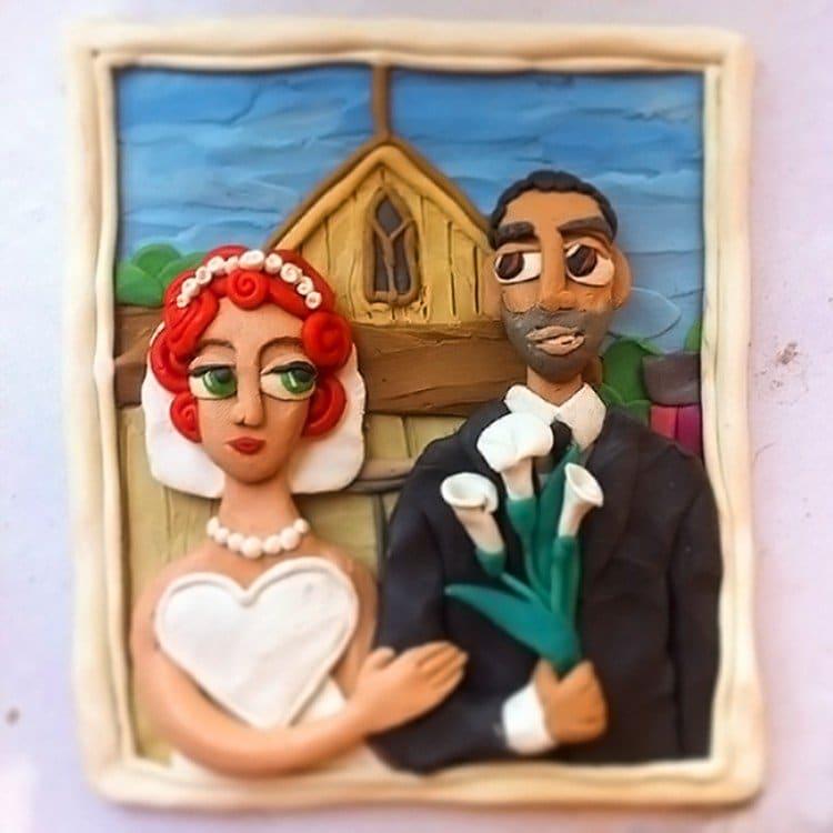plasticine wedding couple church