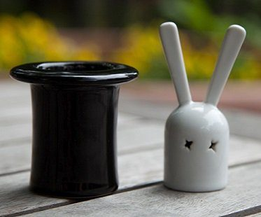 rabbit in a hat salt and pepper shakers