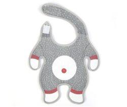 sock monkey baby bib