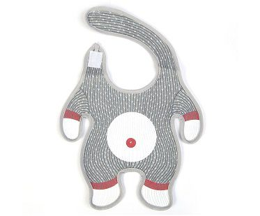 sock monkey baby bib