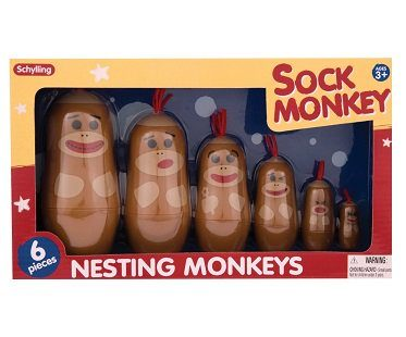 sock monkey nesting dolls box