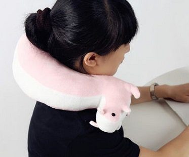 squirrel neck pillow pink