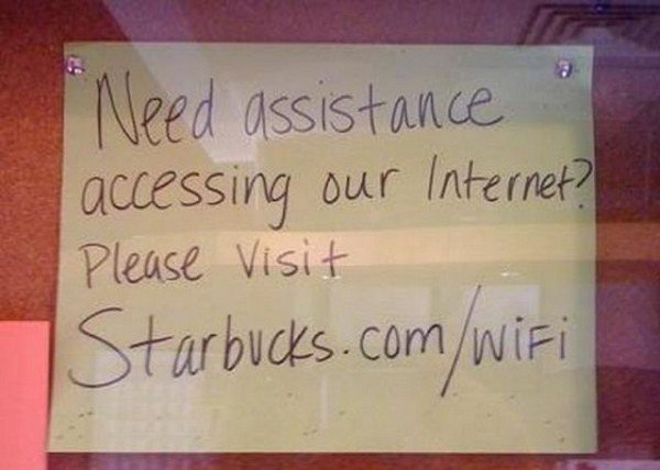 starbucks wifi sign