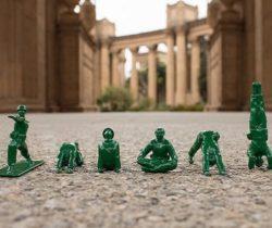 yoga posing green army men