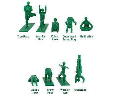 yoga posing green army men poses