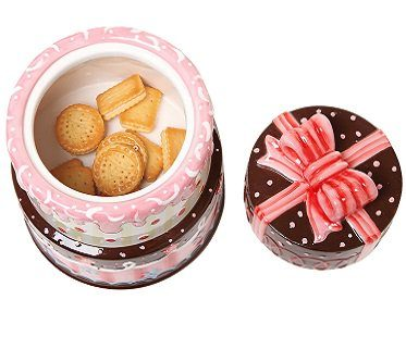 3 layer cake cookie jar pink