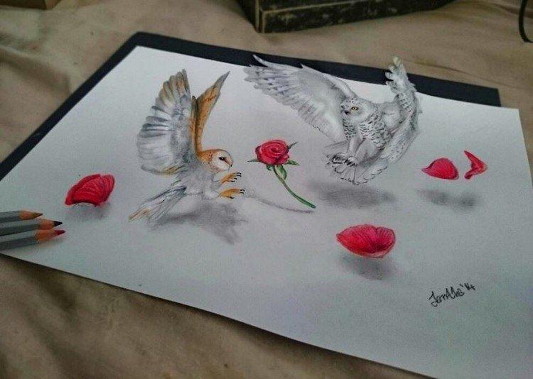 3d owls flowers